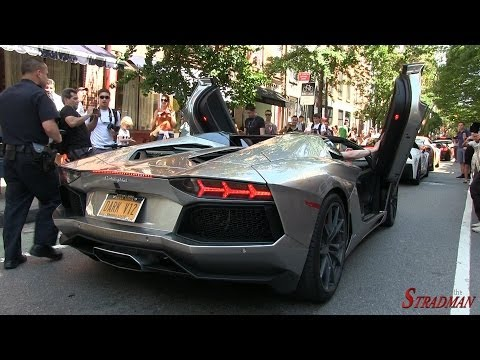 Angry Police Officer stops LOUD revving Lamborghini Aventador Roadster in New York City!