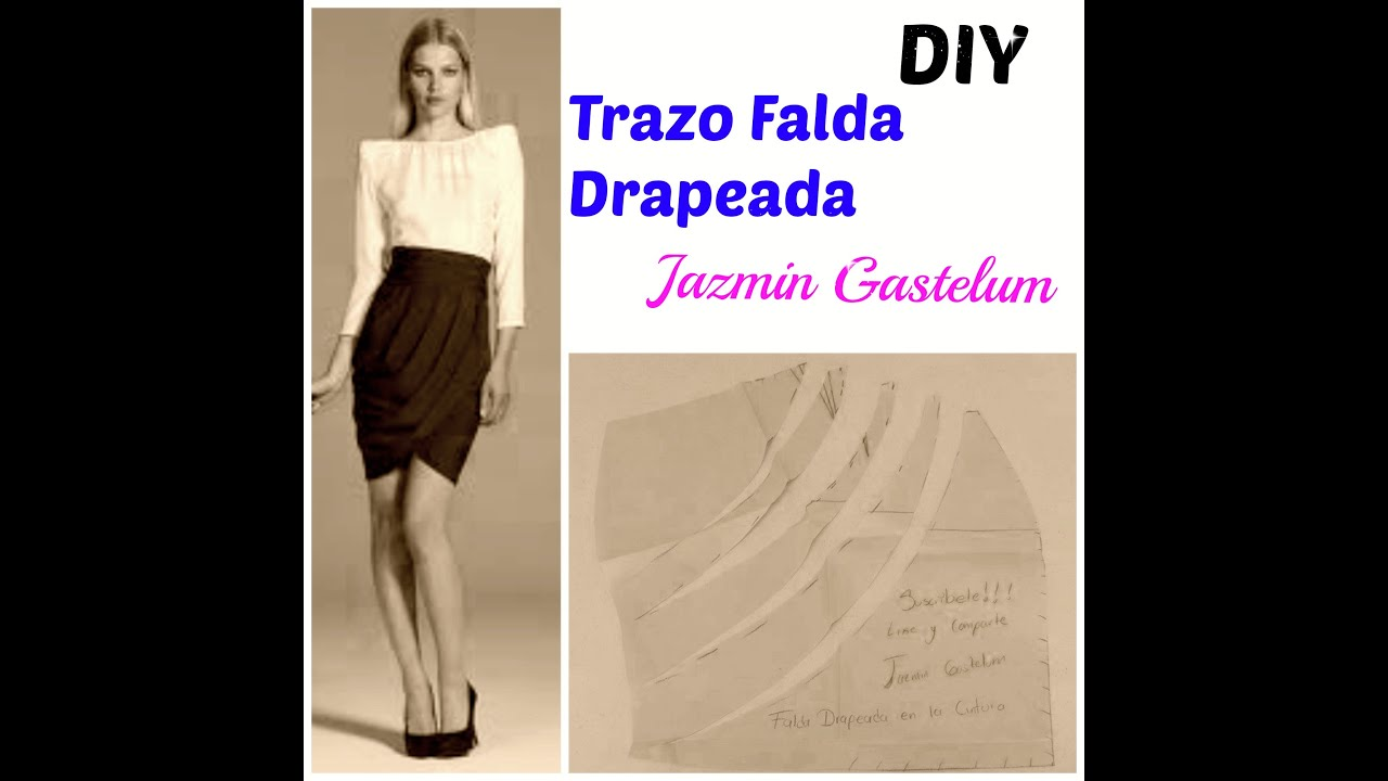 9da051471 Trazo Falda Drapeada En La Cintura DIY- How To Make a Skirt
