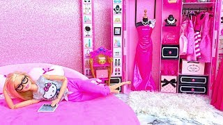 💖Barbie pink bedroom💖Two Barbie sisters morning routine💖Ball dance with Ken Dollhouse Miniatures