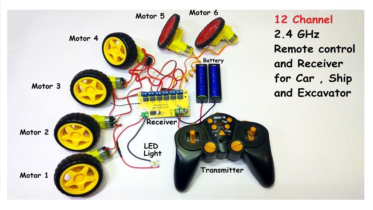 12 Channel Wireless Remote Control System For Rc Car Boat Excavator Receiver Transmitter For Rc Toys Youtube