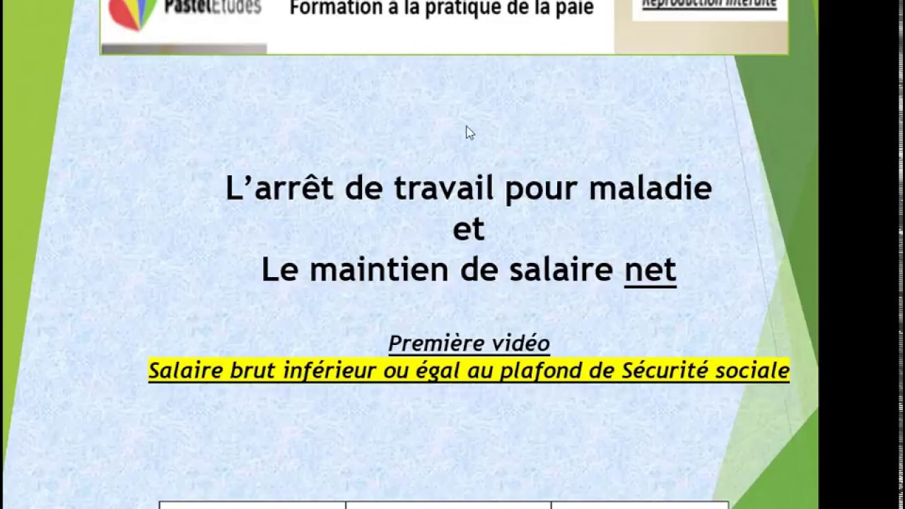 Maladie Et Maintien De Salaire Net Youtube