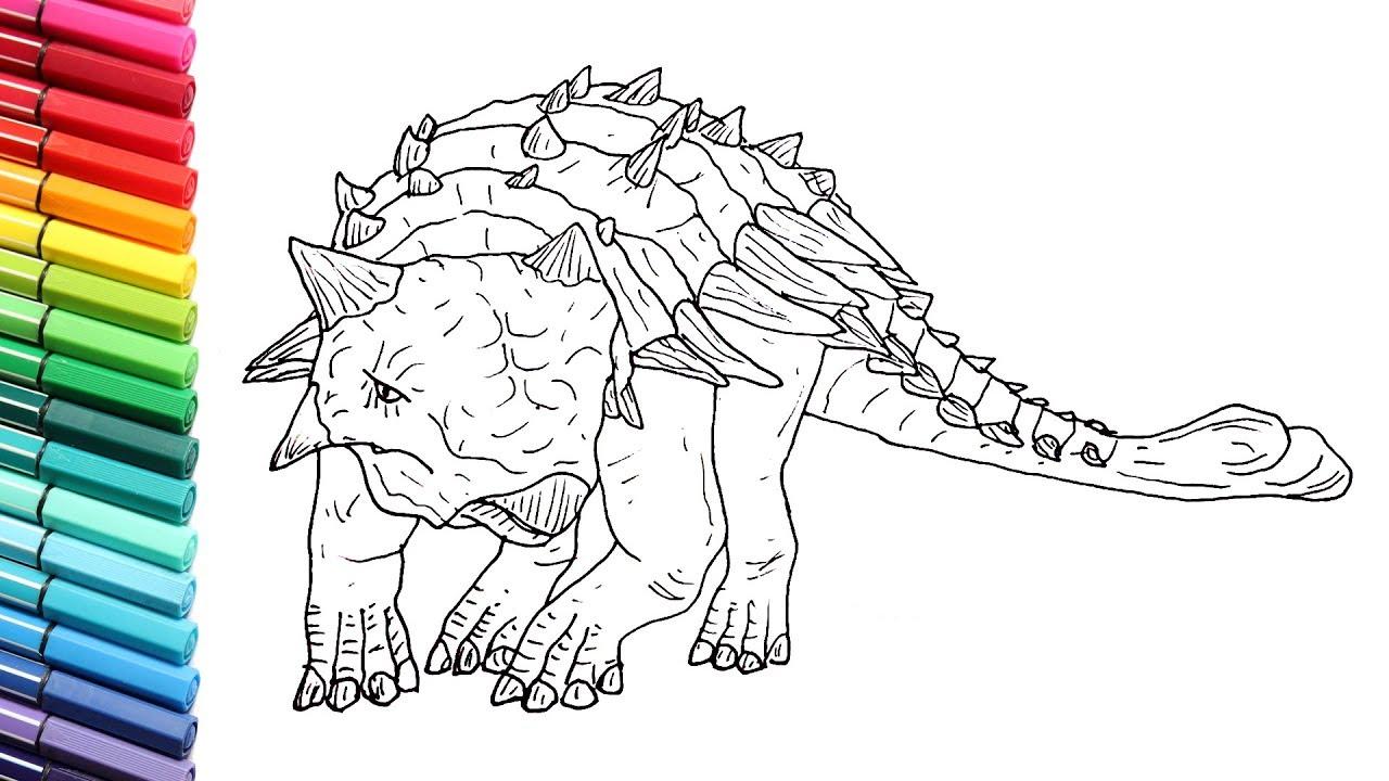 Drawing and Coloring Ankylosaurus Dinosaur from Jurassic ...