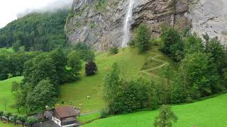 Switzerland vacation video beautiful town Lauterbrunnen aerial view with DJI Spark Drone camera
