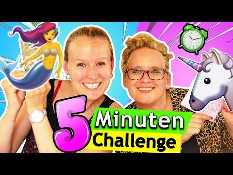 5 Minuten Meerjungfrauen vs. Einhorn Bastelchallenge   Überraschungs Basteln Kathi vs Eva