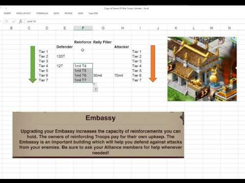 Game Of War: How Embassy Reinforce Work and How Kunai Stats Work