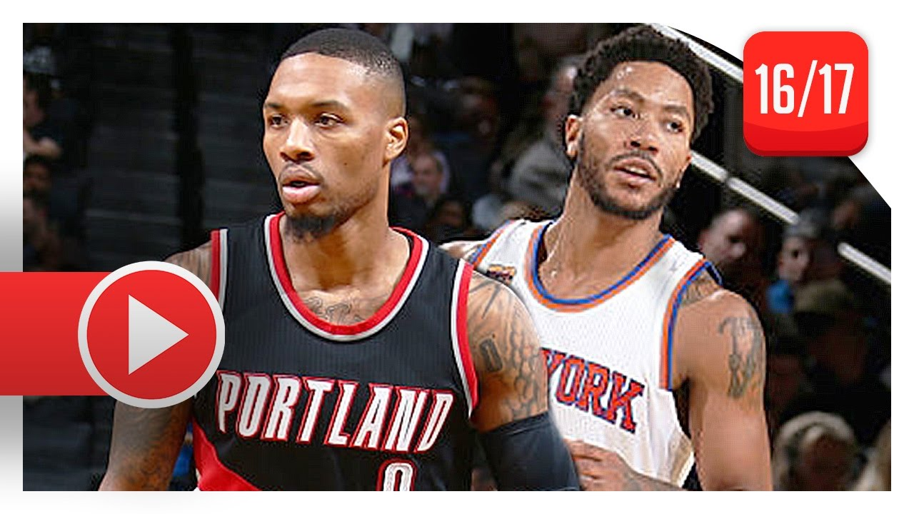 95e26103d0a8 Derrick Rose vs Damian Lillard Full PG Duel Highlights (2016.11.22) Knicks  vs Blazers - SICK!