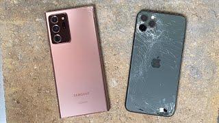 Galaxy Note 20 Ultra vs iPhone 11 Pro Max DROP Test