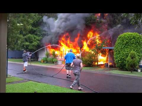 relocatable house fire here in Port Macquarie NSW Australia