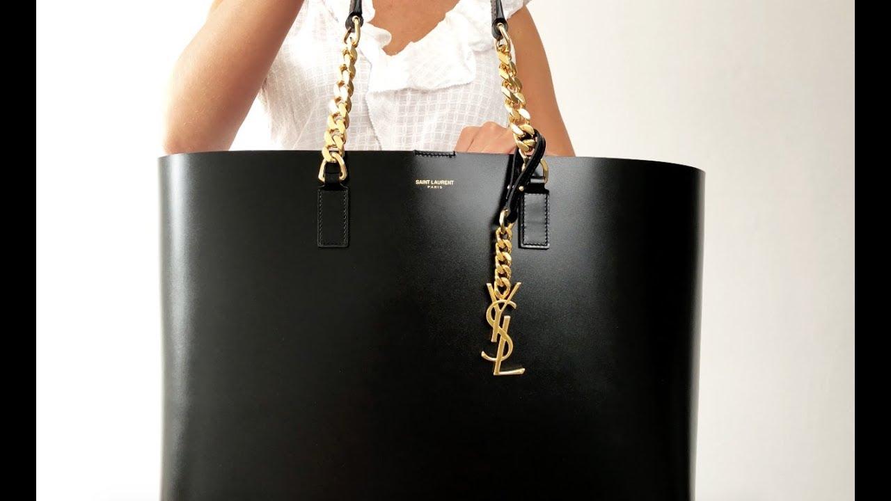 Saint Laurent Ysl Paris Per Tote Bag Rare Black Designer Handbag