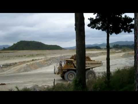 Huge! Trucks Moving Clay @ Waihi Martha Open Cast Goldmine, New Zealand
