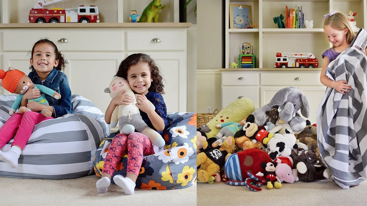 EXTRA LARGE Stuff u0027n Sit - Stuffed Animal Storage Bean Bag Cover by Creative QT  sc 1 st  YouTube & EXTRA LARGE Stuff u0027n Sit - Stuffed Animal Storage Bean Bag Cover by ...