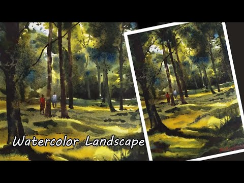 Easy Watercolor Landscape Painting | Save tree | Forest | Step By Step | By Divyesh Bagdawala