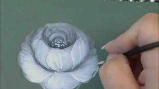 How to paint a Folk Art Rose: Acrylic Painting Technique