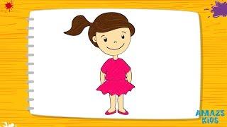Как Нарисовать Девочку для Детей. Простые Рисунки Своими Руками. Учимся Рисовать. Уроки Рисования