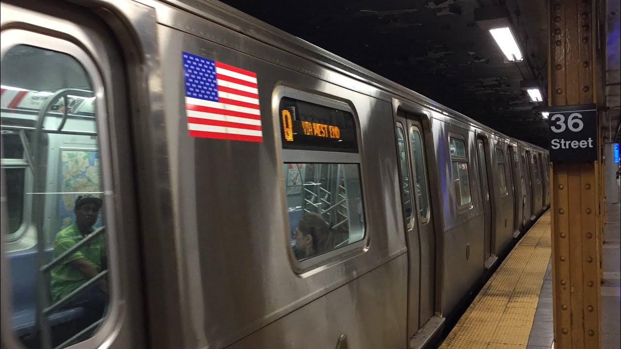 NYC Subway HD 60fps: R68 D Train & R160 N & Q Trains @ 36th Street (Weekend  G O ) 5/28/16