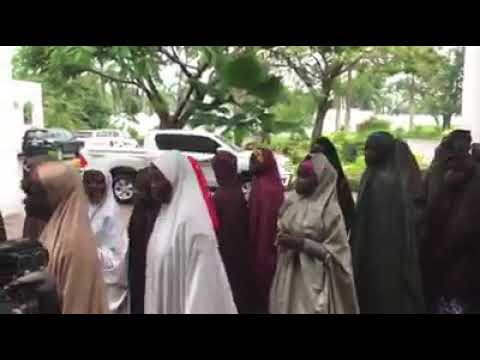Watch Video Of The Released Dapchi Girls In Aso Rock To See PMB