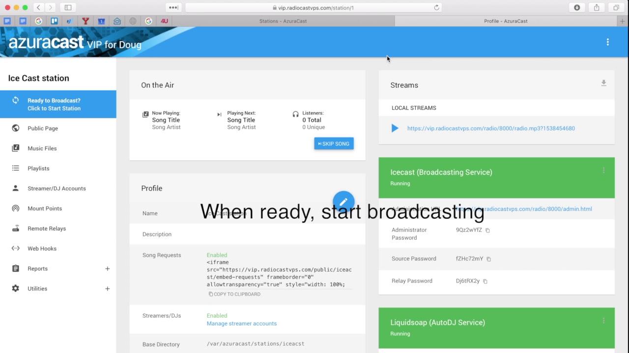 How to create an AzuraCast station with IceCast or Shoutcast service