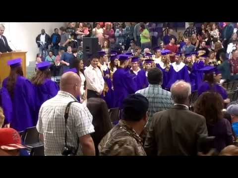 2015 Vian High School graduation cap toss.