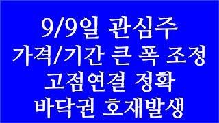 [주식투자]9/9일 관심주(가격/기간 큰 폭 조정/고점…