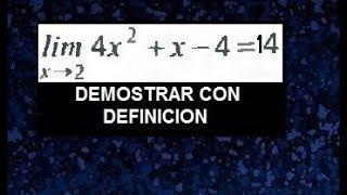 Demostracion de limite utilizando la definicion, delta epsilon ejemplos resueltos