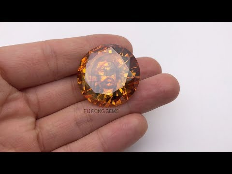30mm CZ Cubic zirconia Golden Yellow Color Round stone engraved with image Picture for sale