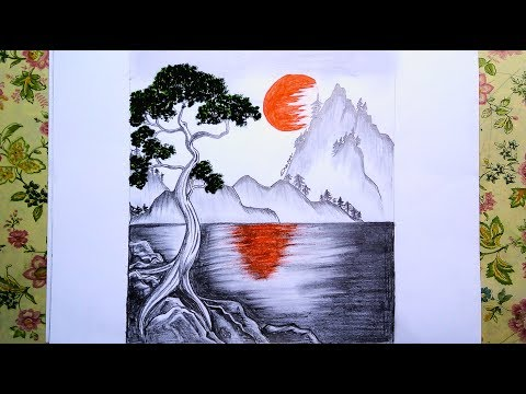 challenge-lakes-scene,-mountain-landscape,-oil-&-pencil-painting-for-beginner-||-time-lapse