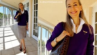 Classic Fashion Over 40/Over 50: Tommy Hilfiger V-Neck, J. Crew Polo and Skirt, Cross-Strap Pumps