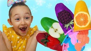 Öykü makes fruit Ice Cream