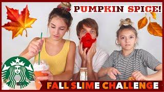 DIY FALL Slime Challenge | Starbucks Pumkin Spice Latte | Fall Slime | Quinn Sisters