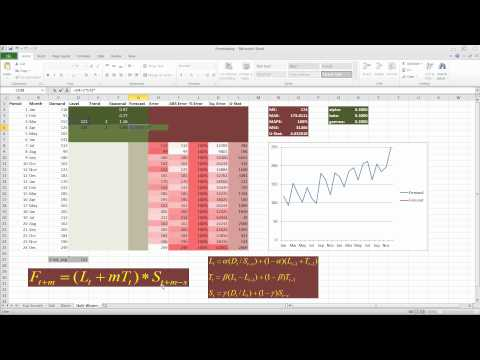 Forecasting in Excel using the Holt-Winter technique