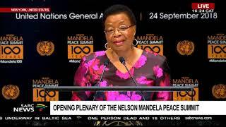 Graça Machel addresses the Nelson Mandela Peace summit at UNGA
