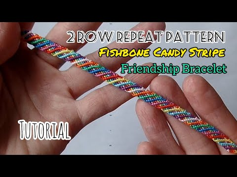 Fishbone Candy Stripe Friendship Bracelet [Tutorial]
