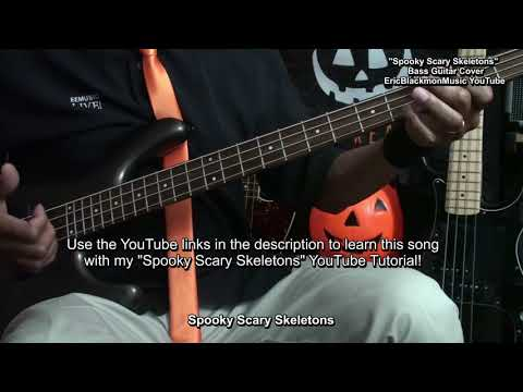 Spooky Scary Skeletons Bass Cover & Lesson Link EricBlackmonGuitar HQ 😎