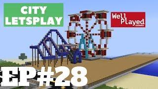 Minecraft Amusement Park Building (Ferris Wheel & Roller coaster)! City Letsplay Ep28