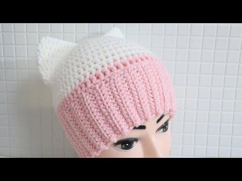 Зимняя шапочка крючком на девочку