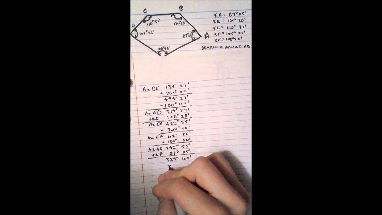 surveying - traverse  azimuths  bearing angles