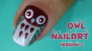 easy owl nail art tutorial - second version