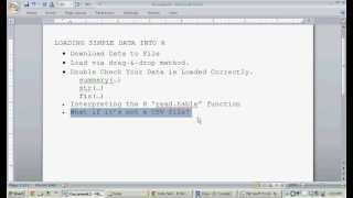 Loading Data Into R Software - (read.table, Data/CSV Import Tutorial)