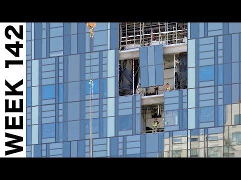Compilation of assorted construction time-lapse clips: Week 142: Curtain wall glass and more