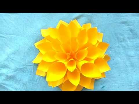 How to make Big Paper Flower || DIY paper flower || wall decor idea ...