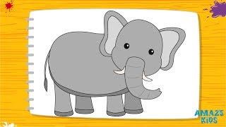 Как Нарисовать Слона для Детей. Учимся Рисовать Животных. Рисунки Своими Руками. Уроки Рисования