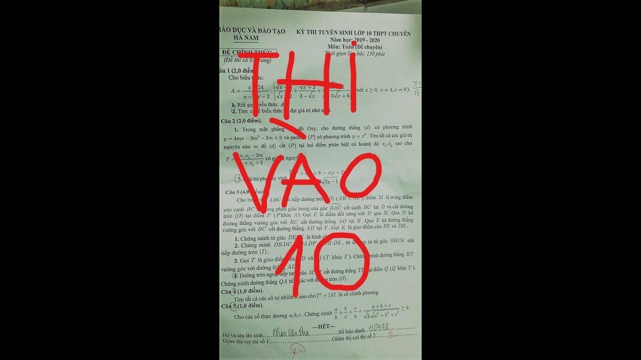 Đáp án câu 5 thi vào 10 sở Hà Nam Chuyên Toán NEW