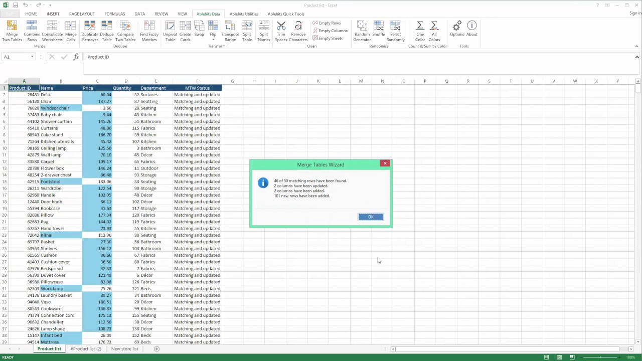 Merge Two Excel W Ksheets Quickly Nd Effectively Youtube