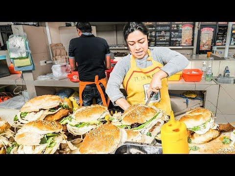 GOD LEVEL Street Food in Mexico - Sandwich NINJA with SUPER FAST Cutting Skills + Mexican Chicken