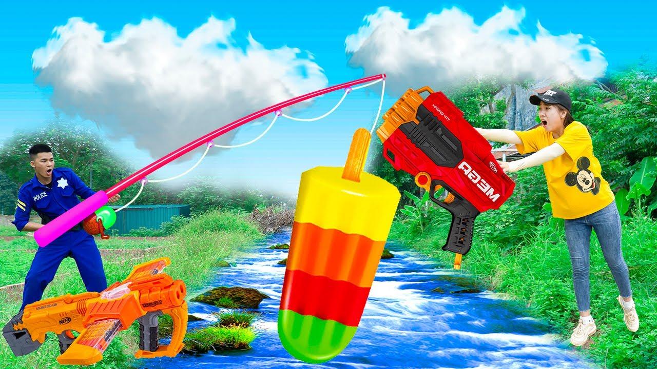 Battle Nerf War: ETHMAN Fishing ICE CREAM BOX & COMPETITION Nerf Guns Fight JMan Picking ICE CREAM