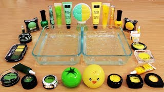 Mixing Makeup Eyeshadow Into Slime ! Green vs Yellow Special Series Part 35 Satisfying Slime Video
