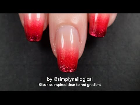 Bliss Kiss Nail File Inspired Red To Clear Gradient Nail Art Tutorial