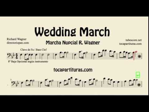 Wedding March sheet music for cello trombone tube bassoon euphonium - bass cleff sheet music