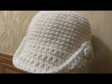 Вязаное крючком женское кепи