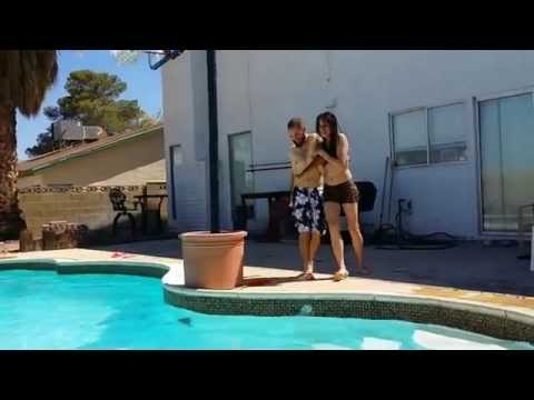 Elisabeth and Kyle Wrestling around the Swimming Pool lol (Las Vegas, Nevada)